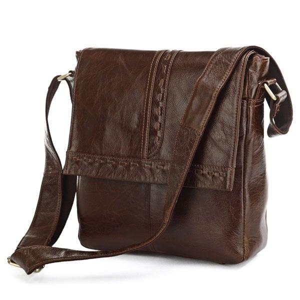 Image of Vintage Handmade Antique Leather Messenger Bag / Satchel / iPad Bag in Dark Brown (n87)