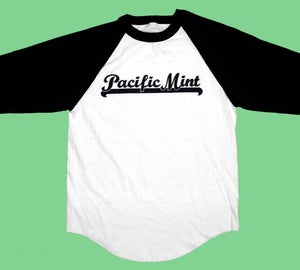 "Image of ""Underline Script"" Raglan in Navy/White"
