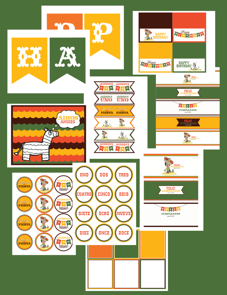 Image of printable Birthday Fiesta Collection by Wants and Wishes