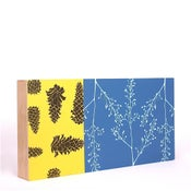 Image of Yellow Blue with Floral and Pinecones 18 x 9