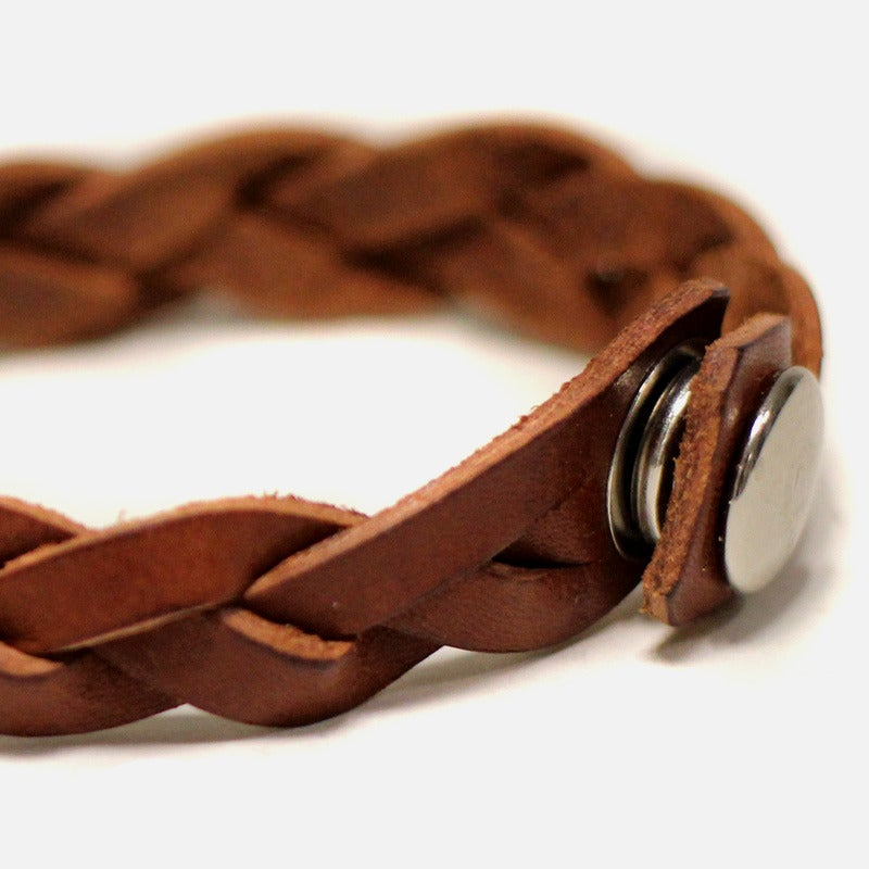 Image of Leather Braided Bracelet - Almond