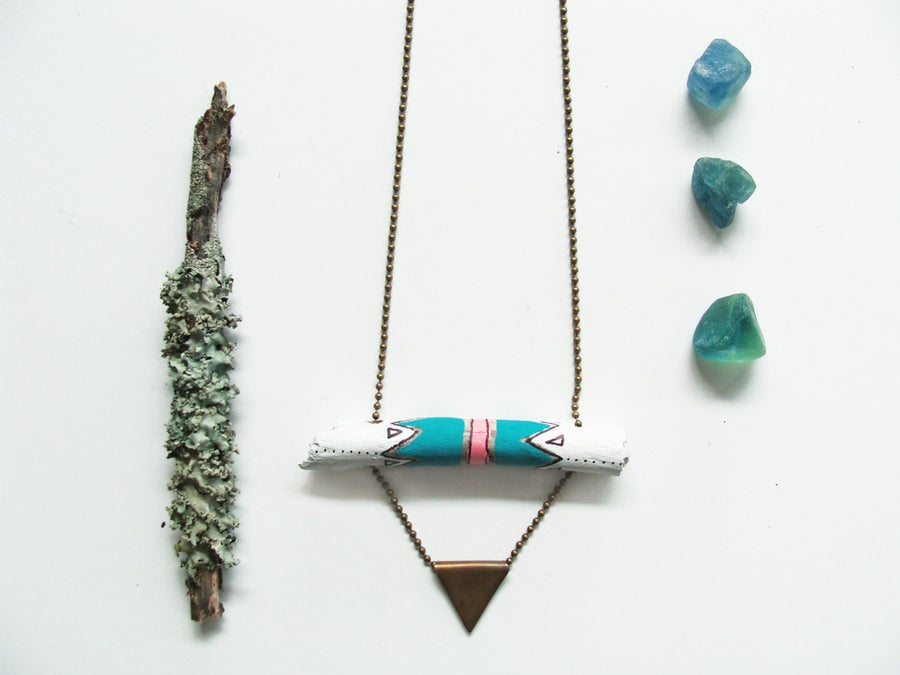 Image of Hand painted pattern driftwood & copper triangle Necklace | NZ dlls