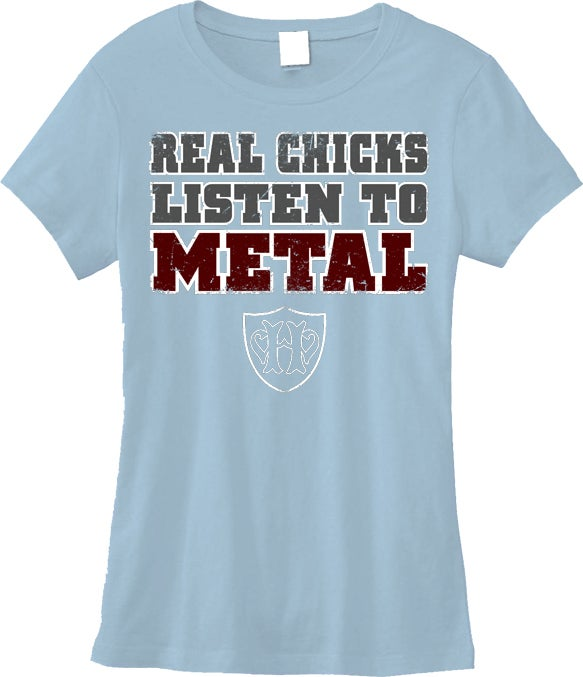 Image of Real Chicks Listen To Metal - BLUE babydoll shirt