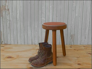 Image of felt + leather milking stool // custom built to order