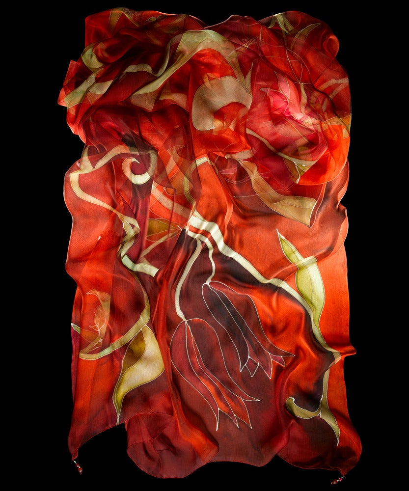 Image of Red Tulip Silk Shawl - Handpainted Silk