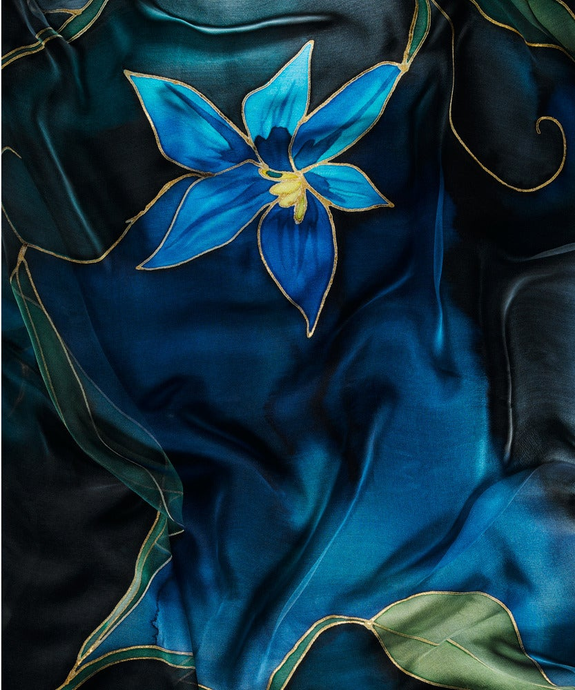 Image of Midnight Tulip Silk Shawl - Handpainted Silk