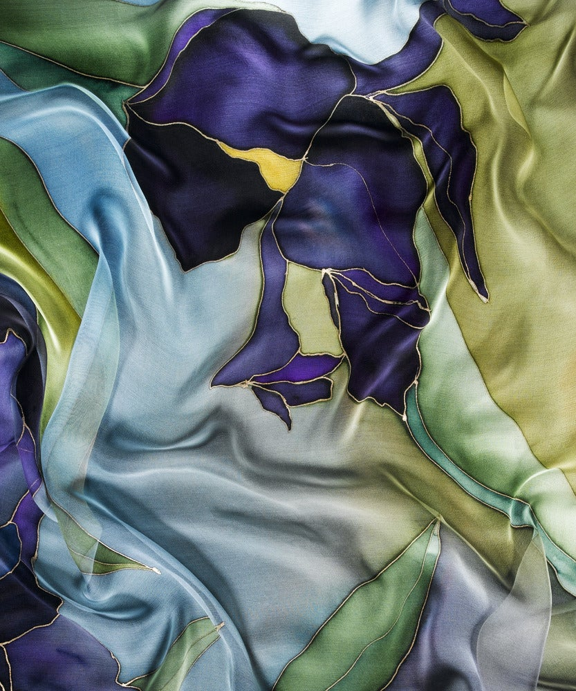 Image of Purple Iris Silk Shawl - Handpainted Silk