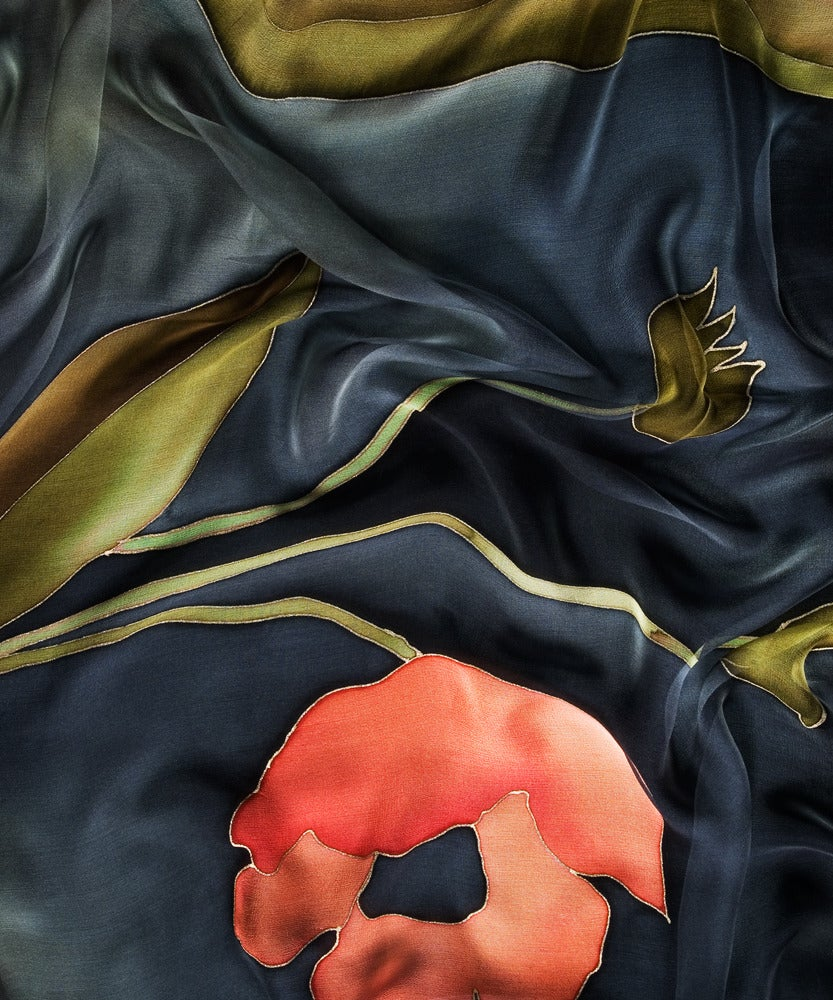 Image of Mystic Poppy Silk Shawl - Handpainted Silk