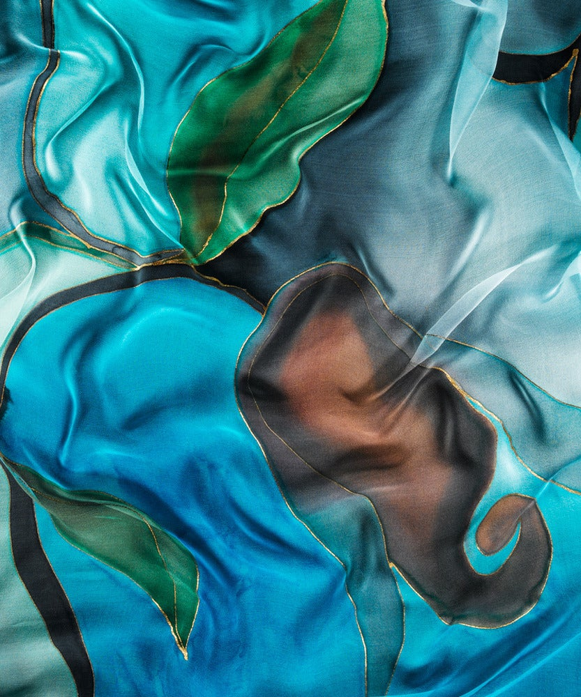 Image of Royal Turquoise Silk Shawl - Handpainted Silk