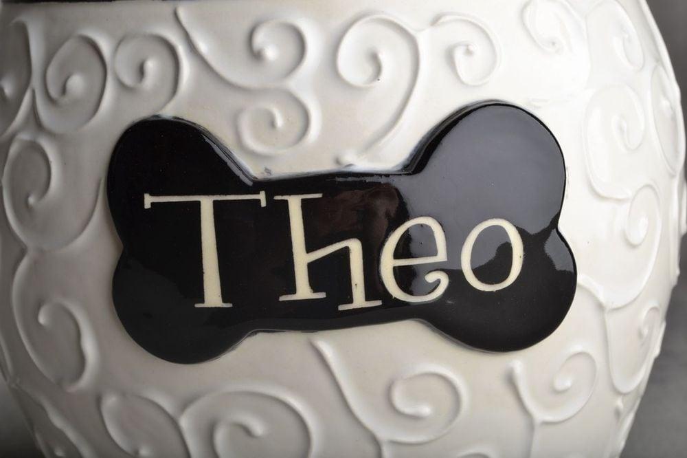 """Image of Dog Trear Jar Black and White """"Theo"""""""
