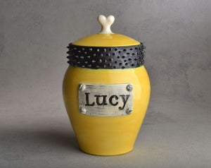 Image of Dog Treat Jar Yellow and Black Spiky Collared