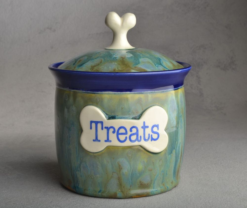 "Image of Dog Treat Jar Green Blue Drippy ""Muffin"""