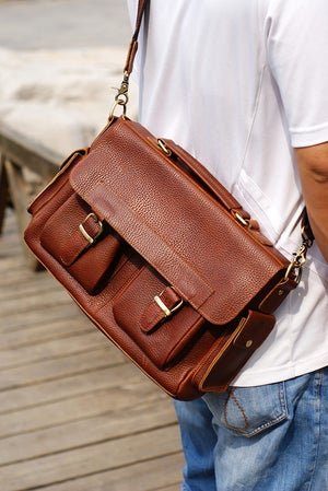 "Image of Handmade Genuine Leather Briefcase Messenger 13"" Laptop / 13"" MacBook Bag in Brown (n55-2)"
