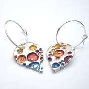 Image of Silver Enamel Earrings, Teardrop Silver Hoop