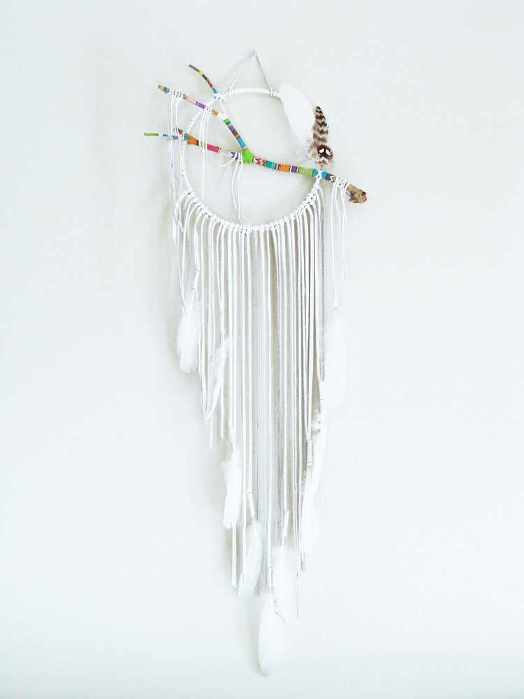 Image of Ethnic Pattern White Dream Catcher