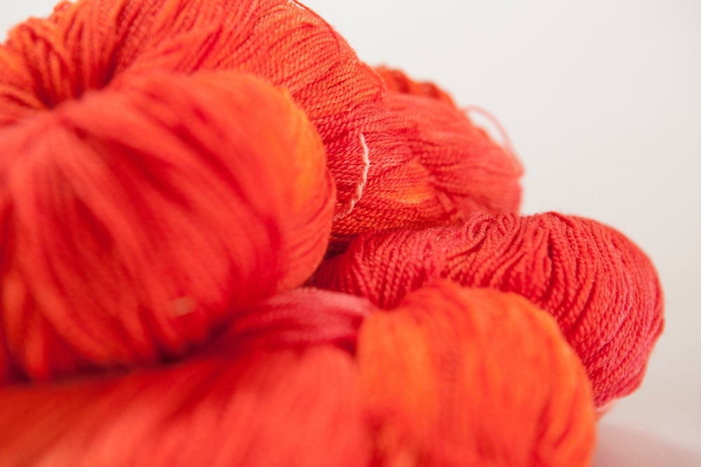"Image of ARACHNE Lace, ""Fawkes"" 2 skeins available Merino + Silk, 1300 yards"