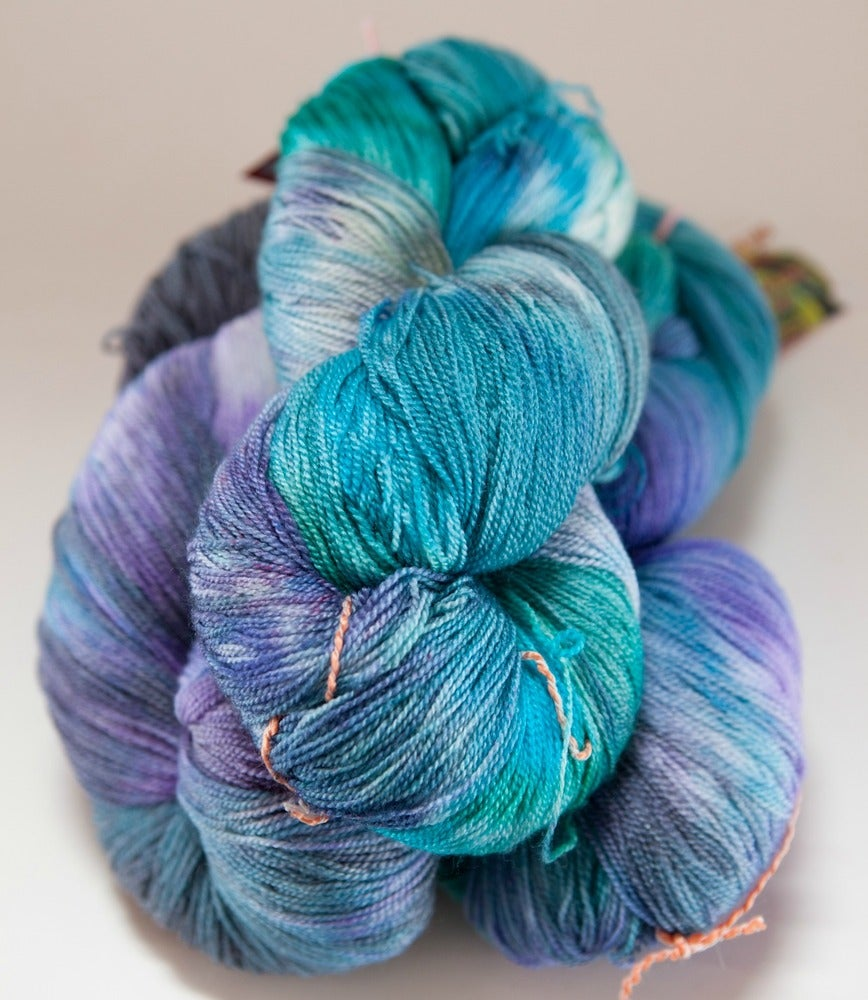 "Image of ARACHNE Lace, ""Lex, Dream, and Galadriel"" 2 skeins available Merino + Silk, 1300 yards"