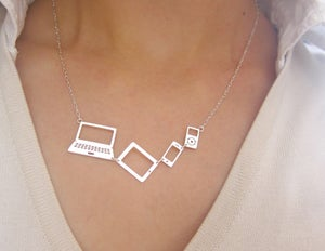 Image of For Computer Lovers (Apple lover) Necklace - Handmade Silver Necklace