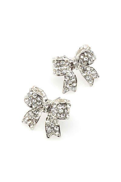 Image of Ribbon Rhinestone Earrings