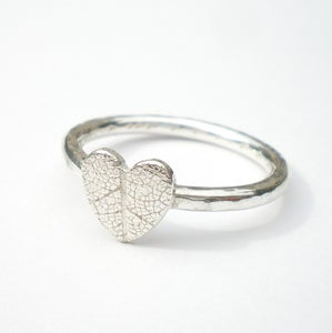 Image of Silver Leaf Heart Ring