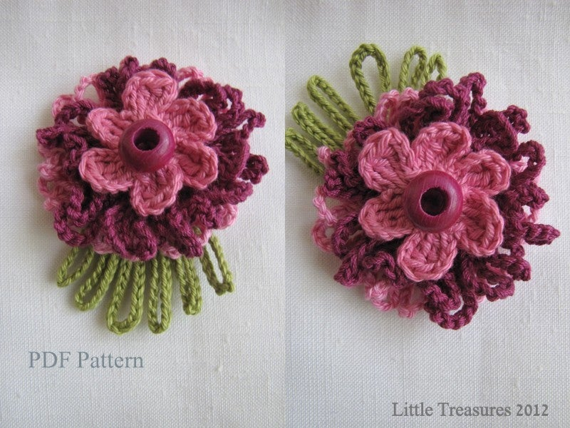 Little Treasures Pdf Pattern For Crocheted Flowers Sunny Flowers