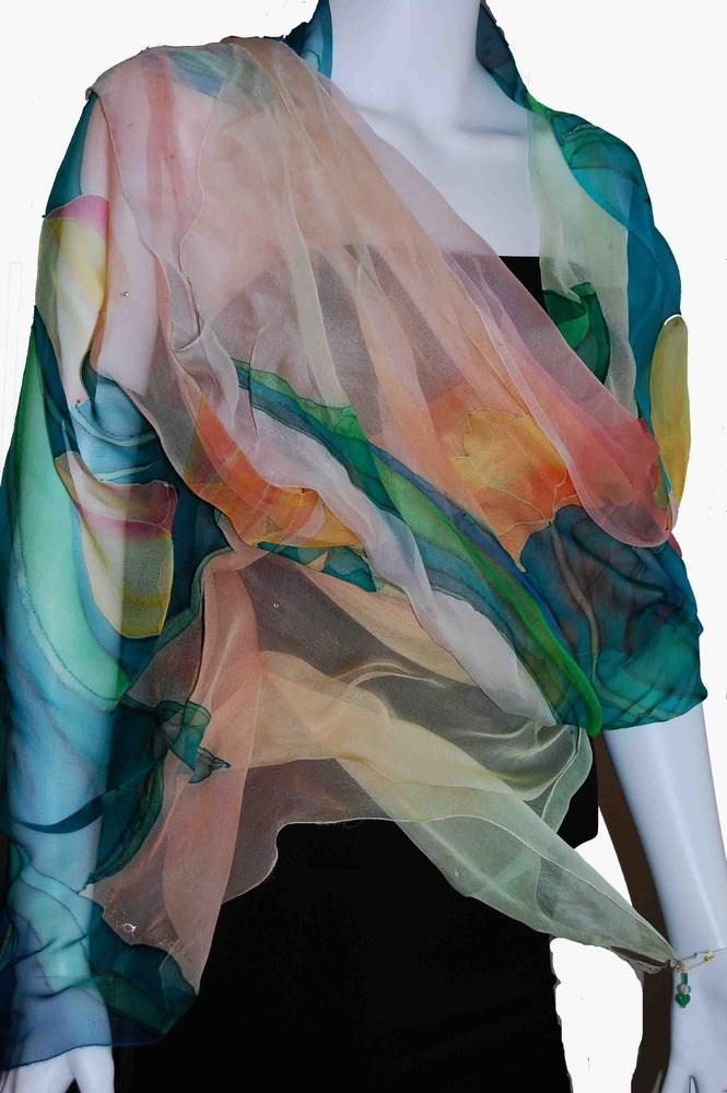 Image of Flying Peacock Silk Shawl - Handpainted Silk Shawl Made in USA