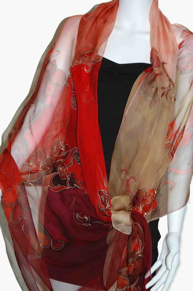 Image of Sunrise Roses Silk Shawl - Handpainted Silk Shawl Made in USA