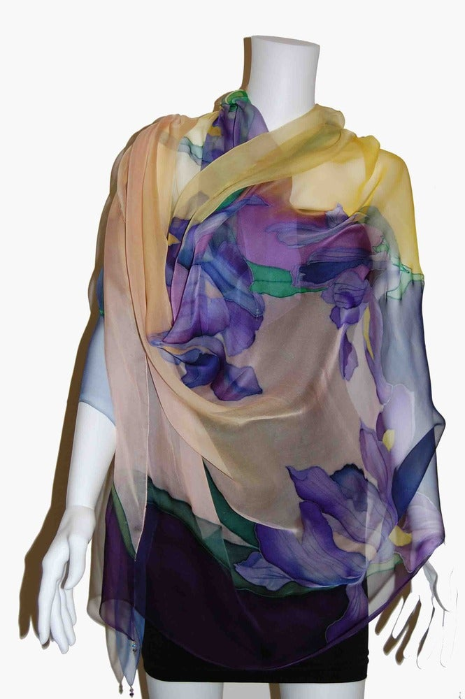 Image of Iris in Gold Silk Shawl - Handpainted Silk Shawl Made in USA
