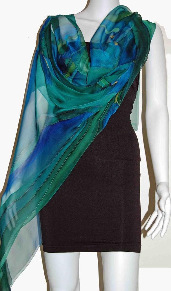 Image of Indian Ocean Silk Shawl - Handpainted Silk Shawl Made in USA
