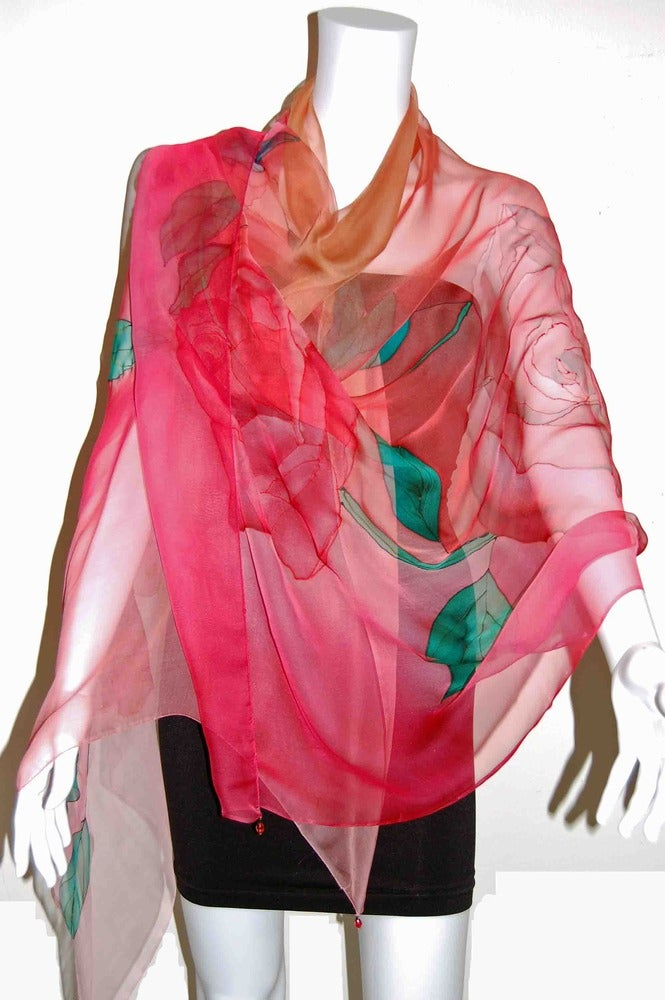 Image of Candy Roses Silk Shawl - Handpainted Silk Shawl Made in USA