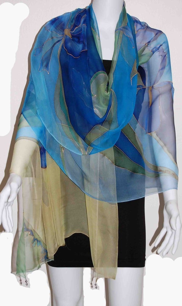 Image of Midnight Iris Silk Shawl - Handpainted Silk Shawl Made in USA