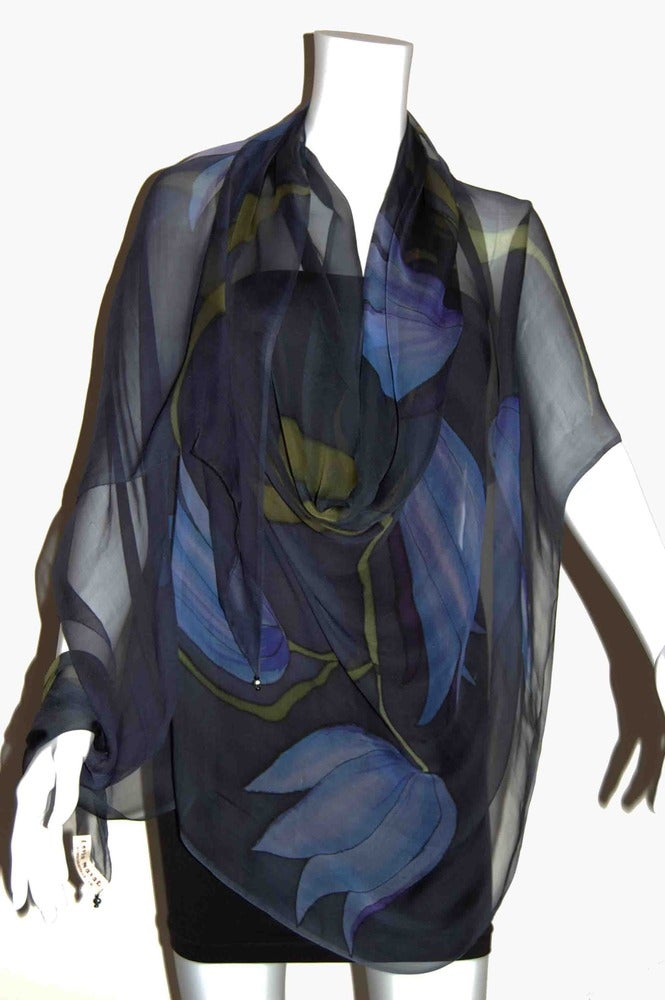Image of Nocturnal Tulips Silk Shawl - Handpainted Silk Shawl Made in USA