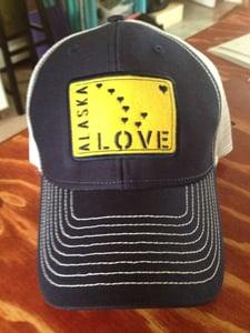 Image of Alaska Love Trucker Hat- Navy/Gold