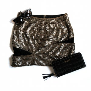 Image of Sequined Mesh Panel Body Con Skirt