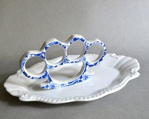 Image of New Cast Porcelain China Knuckles - Blue Floral