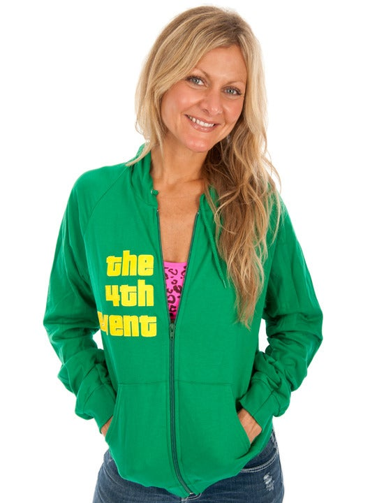 Image of the 4th event original hoodie, green + yellow