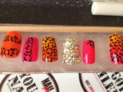 Image of Color Fade Cheetah Square Press On's w/ Swarovski Accent Nail
