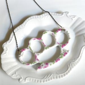 Image of New Cast Porcelain China Knuckles - Pink Floral Necklace