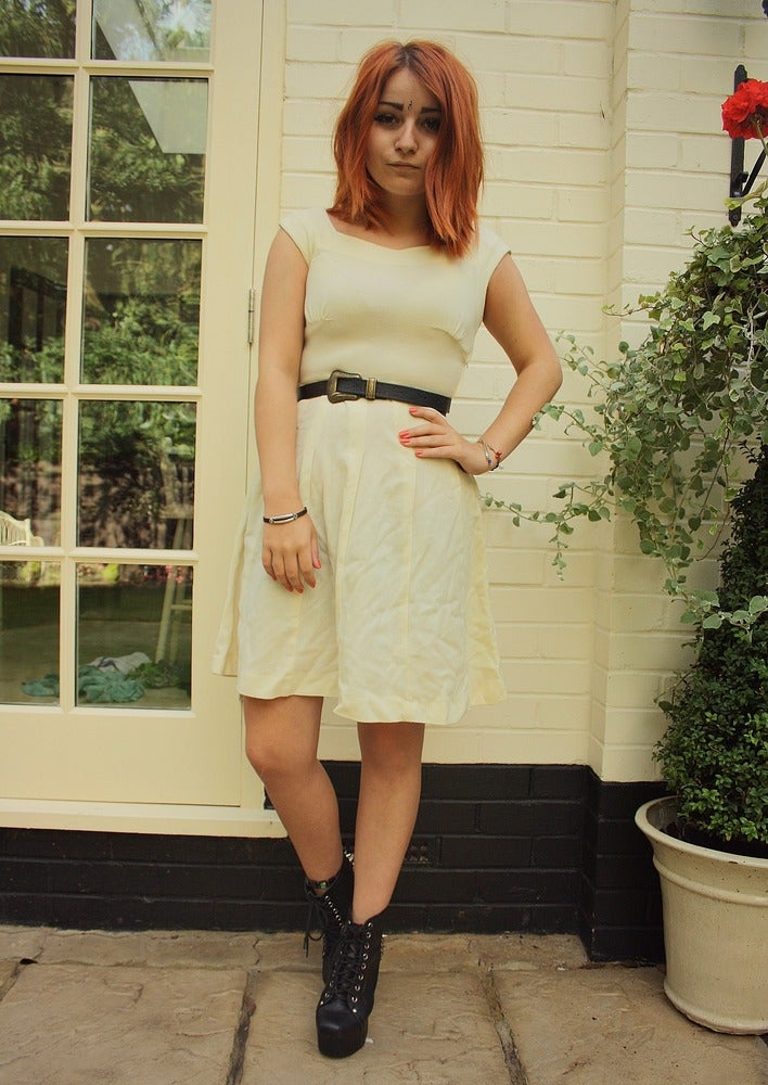 Image of Vintage 1960's Pale Yellow Sweetheart Dress