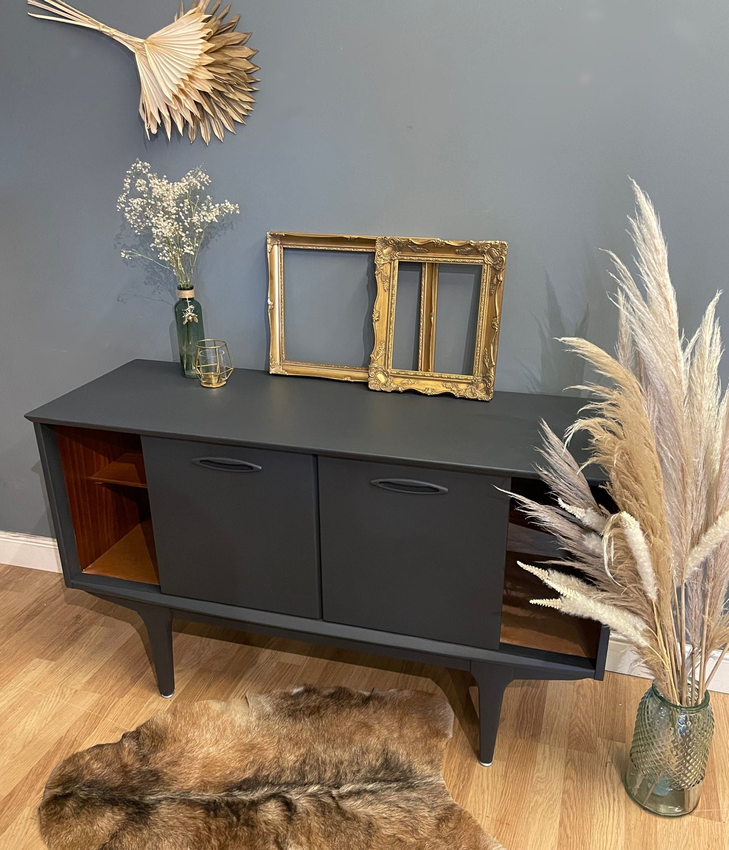 Image of Dark grey Jentique teal sideboard