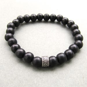Image of Mens black wooden beaded bracelet with tibetan style bead 2