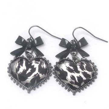 Image of Animal Print Heart & Ribbon Earring