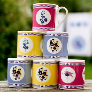 Image of Mugs Set of Six floral designs, Two pink, Two yellow and Two Blue £15 each or set of 6 for