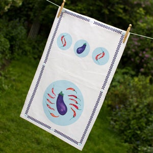 Image of Aubergines & Chillies Tea Towel