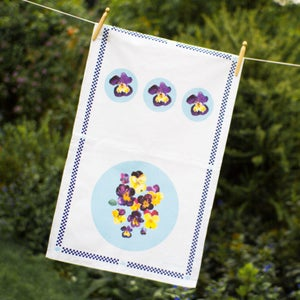 Image of Pansies Tea towel