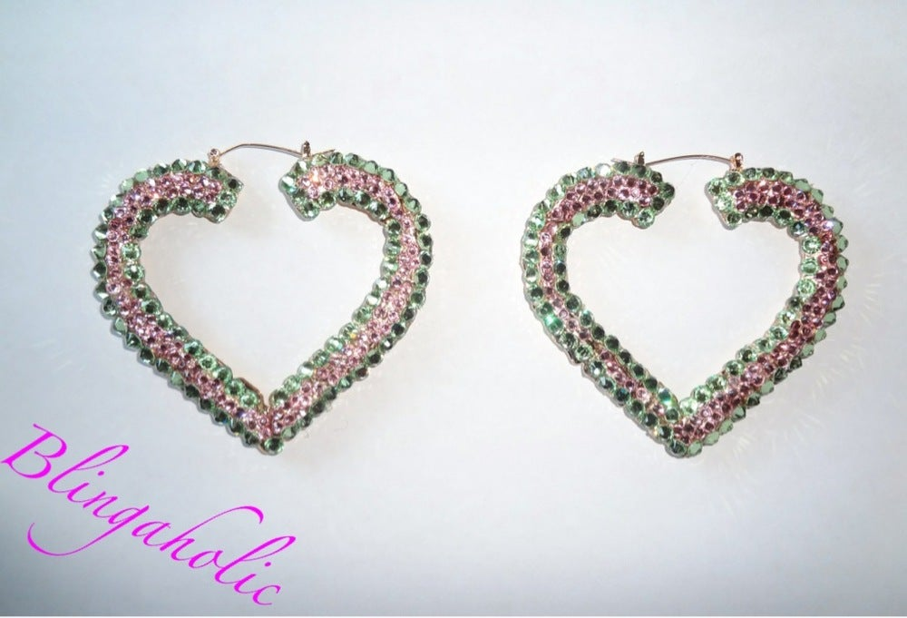 Image Of Swarovski Crystal Sparkly Heart Bamboo Earrings