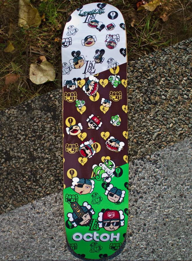 Image of Loyal K.N.G. x Octoh Skatedeck Collab (White/Brown/Green)