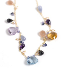 Image of Gold Multi Stone Necklace