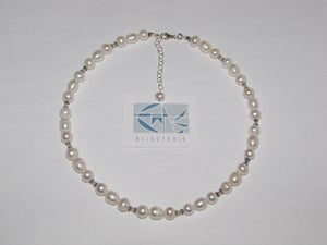 Image of Fresh water cultured pearls/crystals necklace