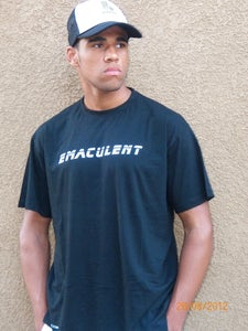"Image of Bright Music  ""Emaculent"" White on Black T-Shirts $ 9.99"